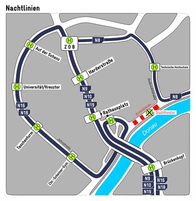 Nachtlinienplan DONAU-LUST